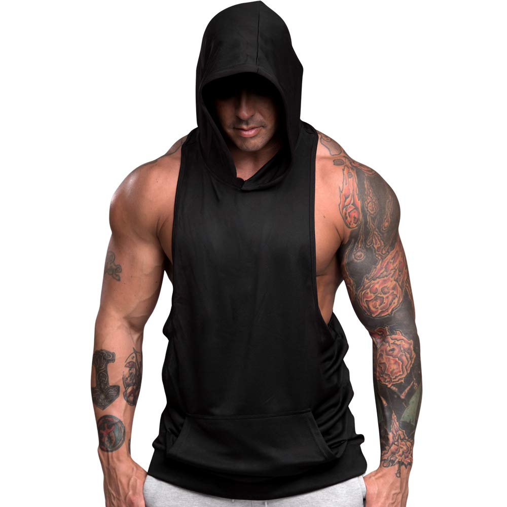 8437badd Amazon.com: nine bull Men's Workout Hooded Tank Tops Sleeveless Gym Hoodies Bodybuilding  Muscle Sleeveless T-Shirts, 2 Pack: Clothing