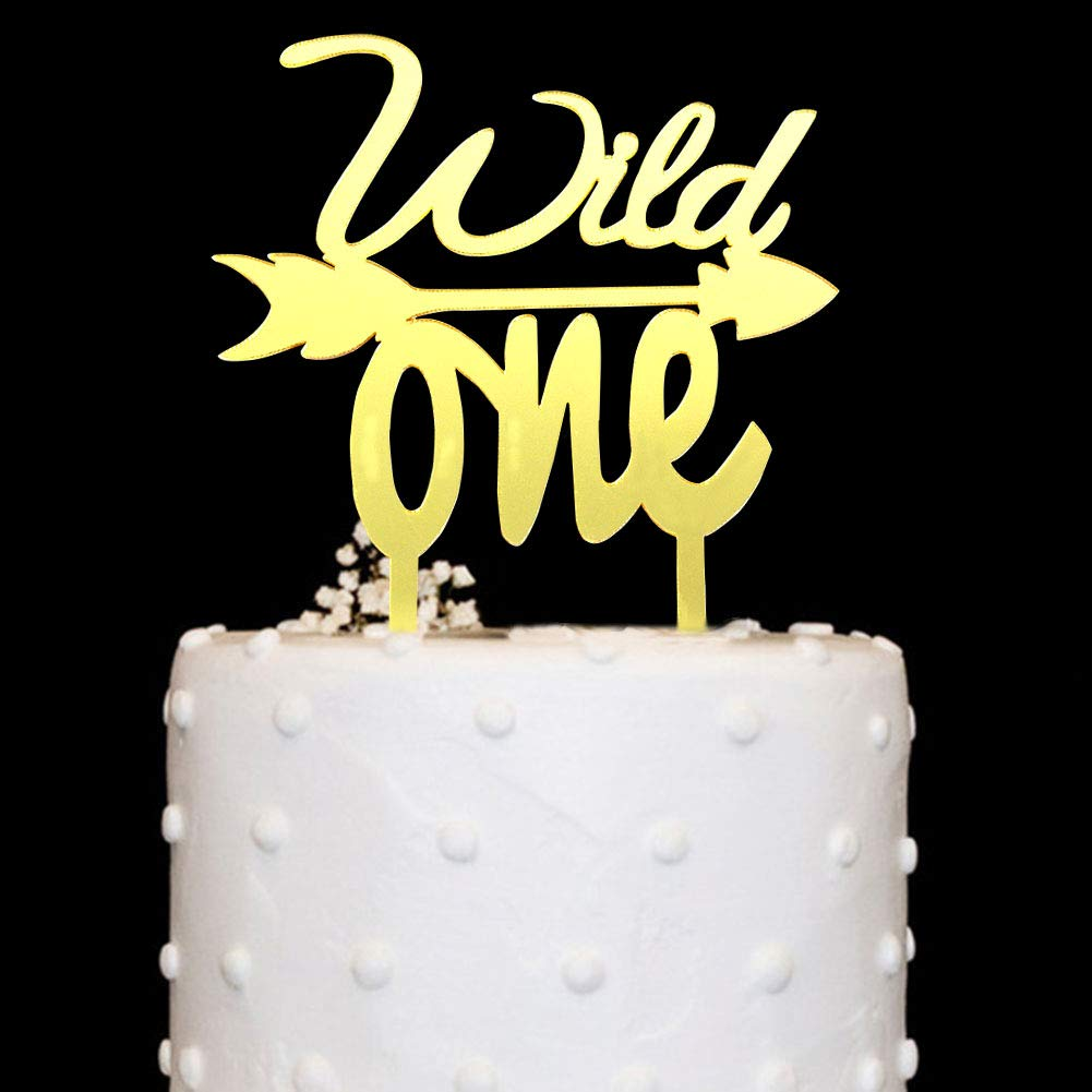 Wild One with Arrow Cake Topper Acrylic Gold Mirror for 1st Birthday Baby Shower Party Decorations