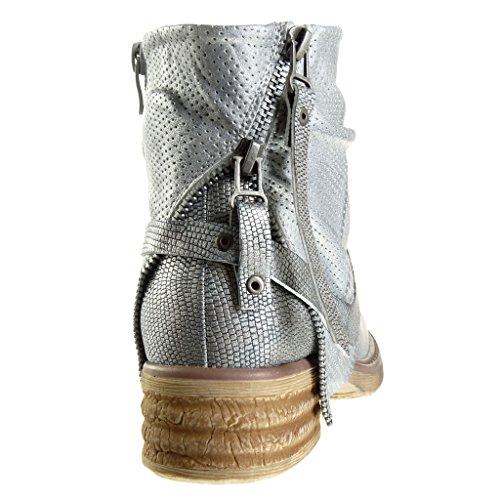 Bimaterial cm Angkorly 3 Moda Tacón Cavalier Talón Camuflaje Nodo Zapatillas de Ancho Piel Serpiente Botines 5 Plata Mujer UaIa1nqr