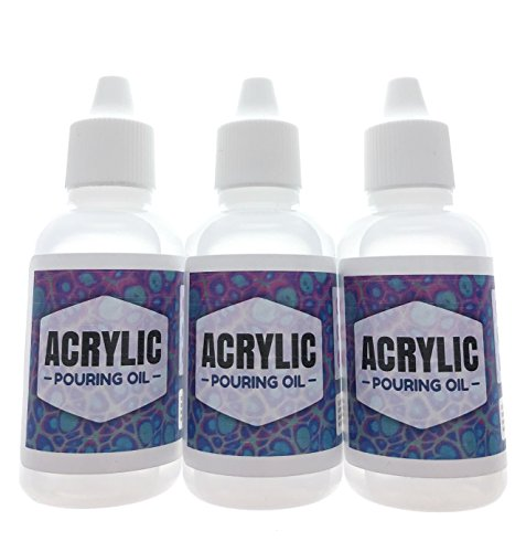 Acrylic Pouring Oil 3 Pack- 100% Silicone Lubricant for Cell Creation in Acrylic Paint, 1oz Drip Tip by Essential Values (3 ()