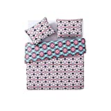 DP 3pc Girls Blue Hot Pink Southwest Comforter Full Queen Set, Color Ikat Native Western American Tribe Themed Pattern, Light Navy Teal, South West Aztec Tribal Bedding