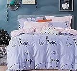 Cliab Cat Bedding for Girls Twin Sheets Light Purple Pink Black Duvet Cover Set 100% Cotton 7 Pieces