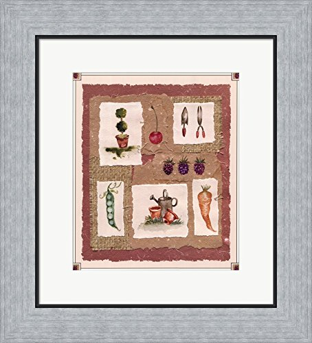 Gardening Pleasures II by Gillian Fullard Framed Art Print Wall Picture, Flat Silver Frame, 16 x 18 inches (Gillian Flat)