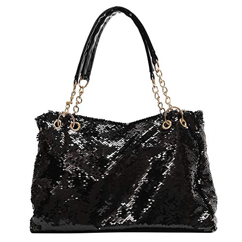 - QTKJ Fashion Two Tone Reversible Sequin Tote Bag Zipper Shoulder Bag with Chain and Leather Straps (Black)