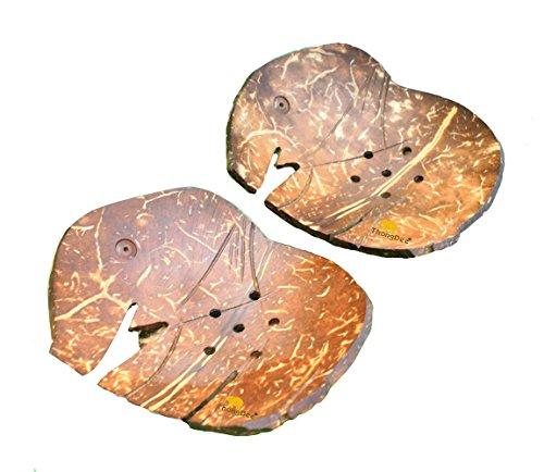Handcrafted Elephant Shaped Natural Coconut Shell Soap Dish Plate Bathroom Accessories Set of 2 (Elephant Soap Dish)