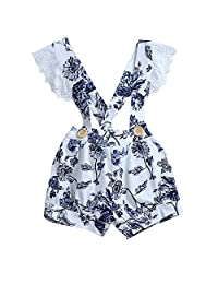 Adorable Infant Baby Girl Ruffle Sleeve Blue Floral One-Piece Overall Shortall
