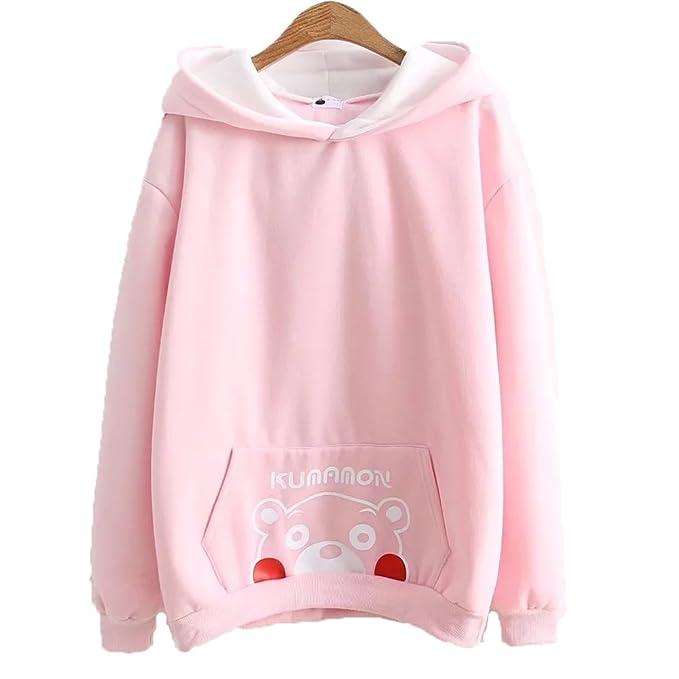 Packitcute Mujeres terciopelo adorable sudaderas con capucha japonesa Kumamon Bear impreso todo el partido outwear (