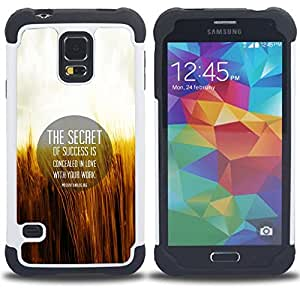 Dragon Case- Dise?¡Ào de doble capa pata de cabra Tuff Impacto Armor h??brido de goma suave de silicona cubierta d FOR Samsung Galaxy S5 I9600 G9009 G9008V- LIFE QUOTE SECRET MOTIVATION WORK LOVE SUCCESS