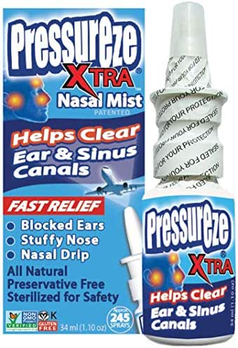 Pressureze 'Xtra' Nasal Spray - 34 ml (245 Sprays) Fast, Natural Relief from Sinus & Ear Pressure Symptoms, Congestion, Stuffy Nose, Blocked Ears, Nasal Drip