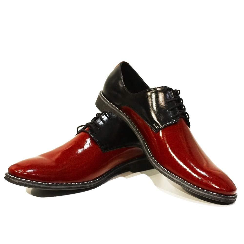 Modello Viareggio - Cuero Italiaño Hecho A Maño Hombre Piel Color rojo Zapaños Vestir Oxfords - Cuero Chañol - Encaje -