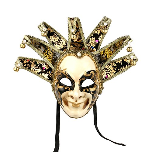 YUFENG Hand Painted Full Face Jester Jolly Joker Venetian Masquerade Wall Mask Carnival Costume Fanshaped Mask Mardi Gras (Black)]()