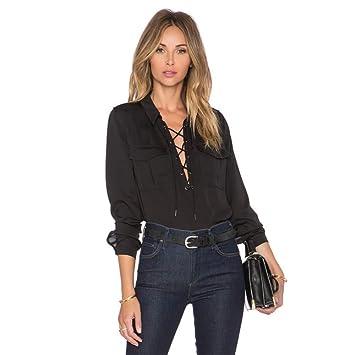 Cnsdy Camisas para Mujeres Corbatas Camisa de Solapa de Tipo V de ...