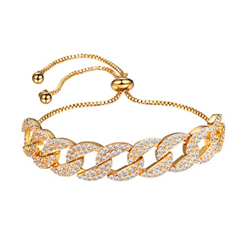 Crystal Cuban Link Bracelet For Women/Girls,Gold Plated Pave Setting Adjustable Infinity CZ Bolo Bracelet