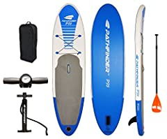 """The Pathfinder Inflatable SUP is a perfect all-around SUP board. This versatile and durable board is 9'9"""" long x 5"""" thick. The complete package includes SUP board, high pressure air pump, removable center tracking fin, bungee tie-down,..."""