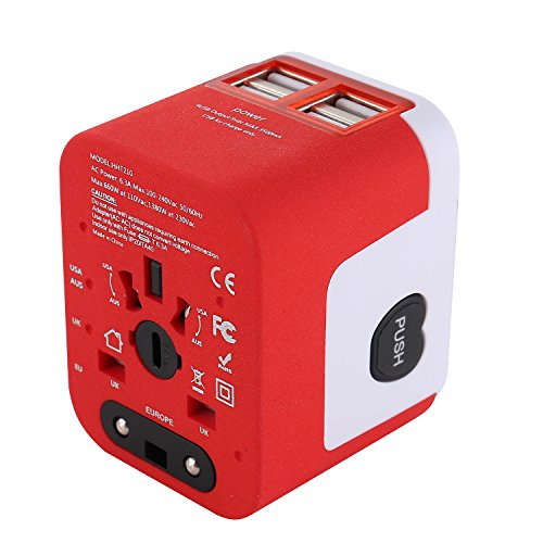 4USB Global Travel Plug Adapter and 3.5 Amps Charging Interface, International Common Plugs and Sockets, Built-in Backup Insurance By SPARIK ENJOY (Red-White T) ()