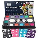 Face Paint Kit for Kids,ProfessionalNon-tocix Face Paint 14 Colors Kit with 2 Brushes, 2 Sponges, 2 Glitter 24 Stencils Body Makeup Paint Hypoallergenic Water Based Paints for Party/Thanksgiving/Halloween/Cosplay/Christmas/Art Show