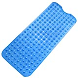 "Tosnail Anti Slip Suction Bath Mat - Non Slip Mats for Tub & Shower Bathroom Safety - 15.7"" W x 39"" L - Extra Long - Blue"