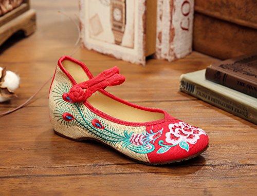 ZLL Pfingstrose Blume bestickte Schuhe, Leinen, Sehnensohle, ethnischer Stil, weibliche Schuhe, Mode, bequem , red , 38