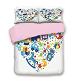 dark grey curtains asda iPrint Pink Duvet Cover Set,Full Size,Heart Shaped Collage of Toys for Newborn Baby Boy Train Alphabet,Decorative 3 Piece Bedding Set with 2 Pillow Sham,Best Gift for Girls Women,Blue Grey