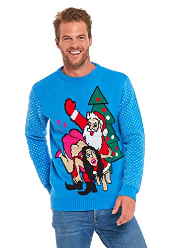 Men Ugly Christmas Sweater - YOU LOOK UGLY TODAY Unisex Christmas Sweater Santa with Woman-L