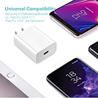 3.3ft C-C Cable Pixel 3 iPad Pro 11 //12.9 PD3.0 Fast Type C Wall Chargers for Samsung Note10//S10//A8s//S//Note 9//S9//S9+//Note 8//S8//S8+ etc Huntkey USB C Charger 18W 9V//2A 5V//3A Power Adapter 3 Gen