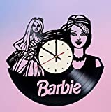 Barbie Doll Vinyl Wall Clock Girls Unique Gifts Living Room Home Decor