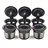 6 Pack Reusable Coffee Filter Replacement for Keurig Refillable K Cupsules 2.0 1.0 Small Coffee Pod Single Black