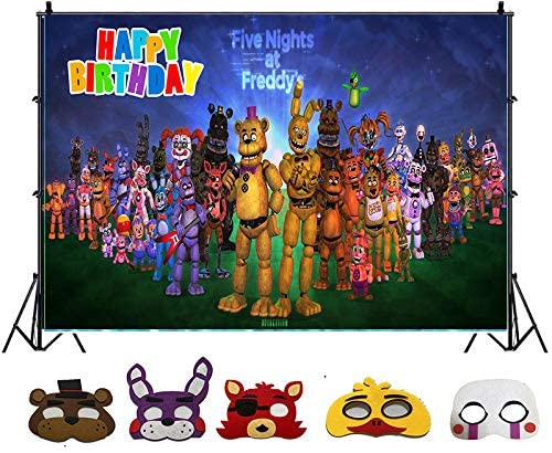 Party Backdrop Five Nights At Freddys Backdrop FNAF Backdrop 5 pack Cosplay Masks Party Favors Decorations