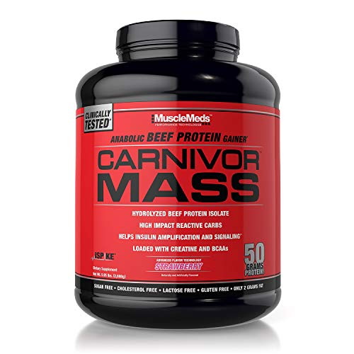 MuscleMeds Carnivor Mass Anabolic Beef Protein Gainer, Strawberry, 6 Pound (Best Mass Gainer Ever)