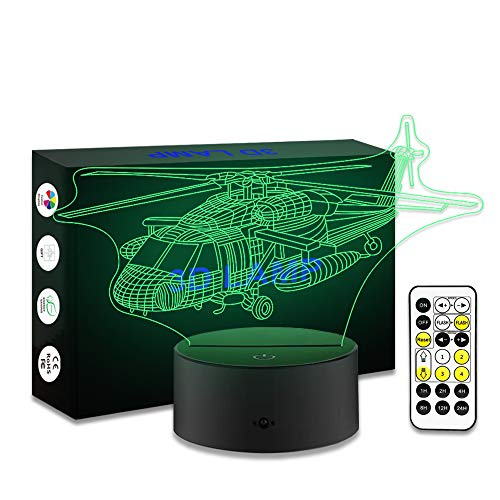 YeeSeeJee Kids Night Light Helicopter Night Light with Timer Remote Adjustable 7 Colors Toy Gift for Helicopter Lover Special Birthday Gift for Kids (Toy Helicopter)