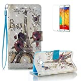 For Samsung Galaxy J3 2017 Case [with Free Screen Protector].Funyye Elegant Premium Folio PU Leather Wallet Magnetic Flip Cover with [Wrist Strap] and [Colorful Printing Painting] Stand Function Book Type Stylish Full Protection Holster Case Cover for Samsung Galaxy J3 2017-Butterfly Flower