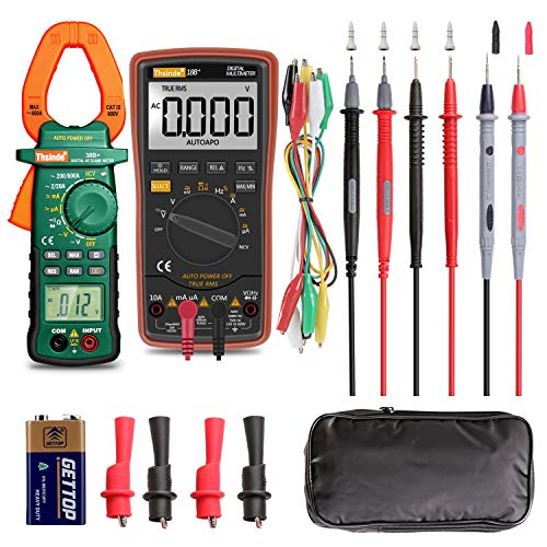 (Auto Ranging Digital Multimeter and Clamp Meter - with Storage Bag Battery Alligator Clips Test Leads for AC/DC Voltage/Current Voltage Alert Amp Ohm/Volt Multi Tester Diode)