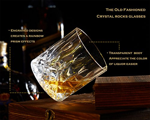 iiiMY Whiskey Stones and Glasses Gift Set, Whiskey Rocks Chilling Stones in Premium Handmade Wooden Box¨C Cool Drinks without Dilution ¨C Whiskey Glasses Set of 2, Gift for Dad, Husband, Men by iiiMY (Image #3)