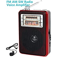 XIAOKOA Portable FM AM Shortwave Radio with LED Light , Music Player , PA System , Voice Amplifier (KN-1003)