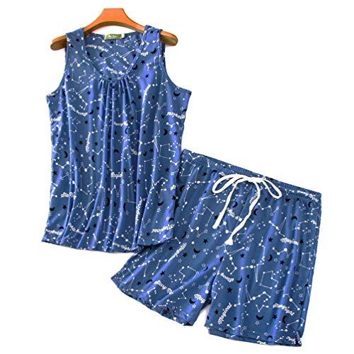(ENJOYNIGHT Women's Cute Sleeveless Print Tee and Shorts Sleepwear Tank Top Pajama Set (X-Large, Starry Sky))