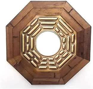 Quadro Oitavado Feng Shui Baguá do Céu Anterior com Espelho Moldura Madeira Escura - 13cm