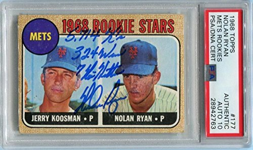 (Nolan Ryan Signed 1968 Topps Rookie Card #177 RC graded mint 10 autograph - PSA/DNA Certified - Baseball Slabbed Vintage Cards)