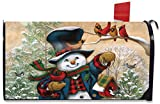 Winter Friends Snowman Magnetic Mailbox Cover Primitive Standard by Briarwood Lane