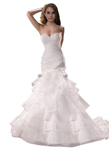 Junai Womens Sweetheart Court Train Mermaid Bridal Gown White ...