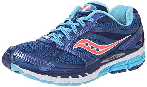 Saucony Women's Guide 8 Road Running Shoe, Blue/Navy/Coral, 6.5 M US