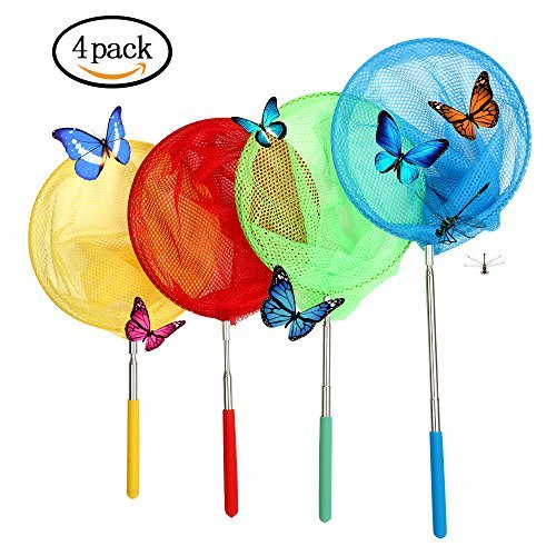 VIPITH 4 Packs Colorful Kids Telescopic Butterfly Net, Extendable 34 Inches and Anti Slip Grip, Perfect for Catching Bugs Insect Small Fish -