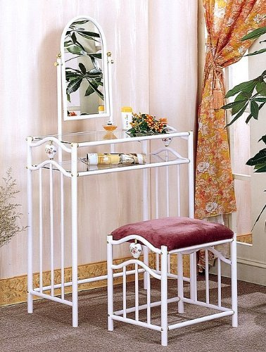 Coaster Glossy White Metal Makeup Vanity Table Set with Mirror in Mauve Velour by Coaster