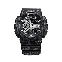 FODONG Mens Sport Watch Dual Display Time Water Resistant Sports Watch Multifunction Casual LED Electronic Wristwatches with Silicone Band Back Light Alarm Black