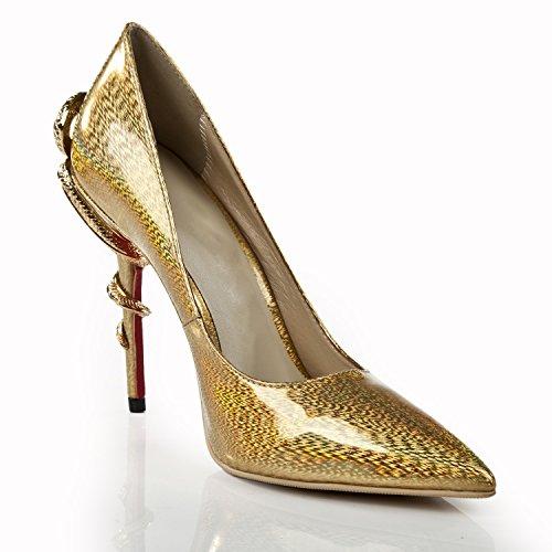 Minitoo ,  Damen Durchgängies Plateau Sandalen mit Keilabsatz Gold
