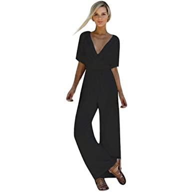 8a0c66dba Short Sleeve Jumpsuit for Women Elastic Band Long Wide Leg Pant V Neck  Romper (Black
