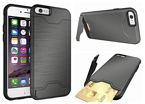 iPhone 6 plus Case,iPhone 6s plus Case[Card Slot] [KickStand] Dual Layer Hybrid Shockproof Case Cover 2in1 Piano Wire Drawing Wallet Case for iPhone 6/6s plus 5.5 inch(gray)