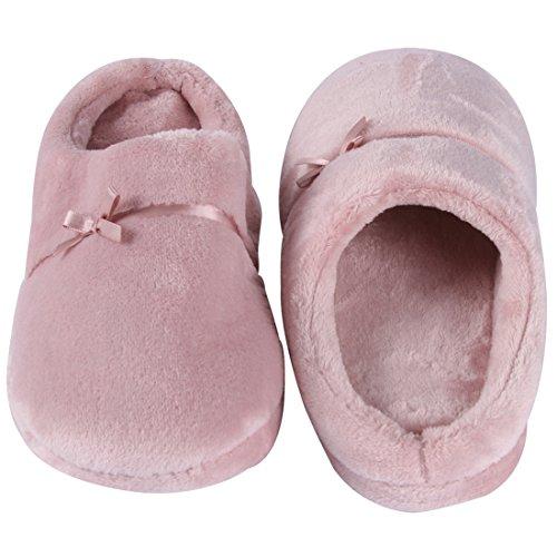 Scarpette Da Passeggio Per Donna Flanella Morbida Fodera Interna Slip-on Pantofole Da Interno / Esterno Rosa Chiaro