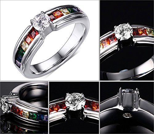 Cherryn Jewelry Beautiful Crystal Wedding Ring Rainbow Color Ring With Zircon Austrian Crystal Rainbow Stainless Steel Ring Jewelry
