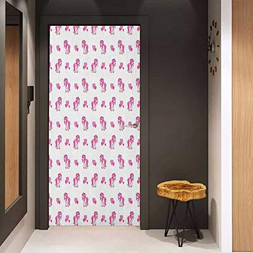 (Toilet Door Sticker Love Pink Hearts and Magical Pony Horse Kids Girls Design Fairytale Toy Animal Cartoon Glass Film for Home Office W38.5 x H77 Hot Pink White)