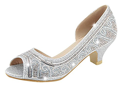 Sparkle Belle Shoes (Bella Marie Girls Kids Sparkle Crystal Bling Open Toe Low Kitten Heel Pumps (9 M US Toddler, Silver))